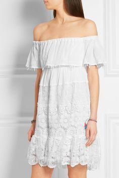 Anjuna | Maria off-the-shoulder crochet-paneled cotton-gauze mini dress | NET-A-PORTER.COM