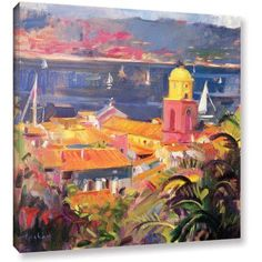 ArtWall Peter Graham St. Tropez Sailing Gallery-Wrapped Canvas, Size: 36 x 36, Blue