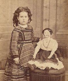 1880's CDV Little Girl w Large China Head Doll Petaluma CA | eBay