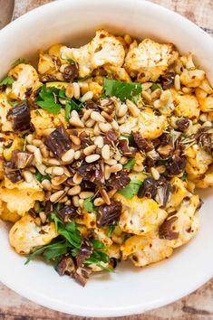 Harissa Roasted Cauliflower with Dates & Pine Nuts