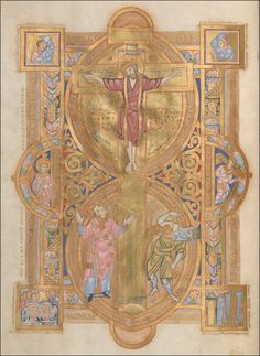 Crucifixion with Sun, Ecclesia, and Life; and Moon, Synagoga, and Death. Uta Codex, Regensburg, c. 1022. Munich, Bayerische Staatsbibliotek clm 13601, fol. 3v.