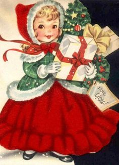 "Vintage Christmas Card ~ girl in red ""For You!"""