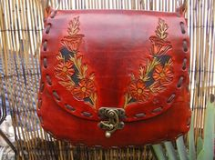 Purse / Leather / Woman's / / Beautiful Poppy / Leather Bag / Hand Carved and Tooled / Hand Made Purse