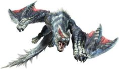 Silverwind Nargacuga are Deviants of Nargacuga introduced in Monster Hunter Generations. Silverwind Nargacuga appears similar to Lucent Nargacuga, having white fur and scales on parts of its body. It has more spikes on its tail and they are constantly erect. Unlike the Lucent Nargacuga, the Silverwind's white patterns are striped and brighter.