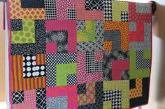 """Modern Baby Quilt """"William""""   Pink-Yellow-Lime-Black"""