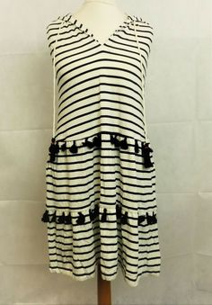 cd695da44d5 NEXT Striped Hooded Tassle Dress Black White Size UK 10 rrp 26 DH087 LL 06   fashion  clothing  shoes  accessories  womensclothing  dresses (ebay link)