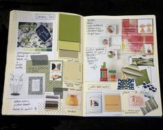 Design book—paint chips, fabric and wallpaper samples, cut outs from magazines. Inspiration Boards, Creative Inspiration, Journal Aesthetic, Sketch Books, Sketchbook Pages, Wallpaper Samples, Paint Chips, Smash Book, Altered Books