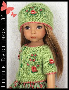 "OOAK Green & Coral Outfit for Little Darlings Effner 13"" by Maggie & Kate Create"