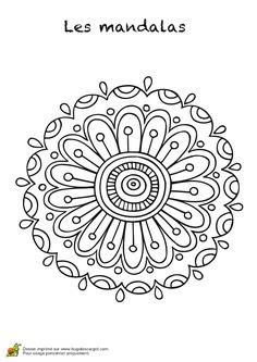 Coloriage les mandalas sur hugo 02 sur Hugolescargot.com - Hugolescargot.com Mandala Coloring, Colouring Pages, Adult Coloring Pages, Mandalas Painting, Mandalas Drawing, Dot Painting, Henna Mandala, Mandala Art, Step By Step Painting