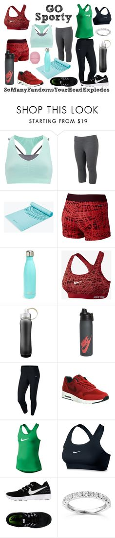 """""""Strength, Yoga, and Cardio."""" by somanyfandomsyourheadexplodes ❤ liked on Polyvore featuring Sweaty Betty, Tek Gear, NIKE, S'well, Annello and Topshop"""