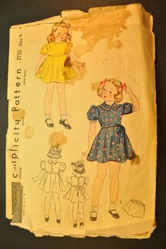 Missing instructions. Child's Dress Vintage 1940s Sewing Pattern Size by ClassicCabin, $4.98
