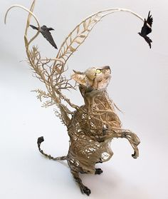 Artist Ellen Jewett creates surrealist sculptures using completely local and non-toxic materials | Lybica III - African wild cat sculpture - by Ellen Jewett  #cats #surrealism #Sculpture