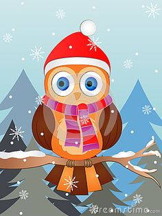 Illustration of a cute Owl wearing Winter Cap and Scarf.