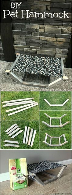 ♥ Pet Rabbit Ideas ♥ This easy-to-make and inexpensive DIY Pet Hammock is the perfect place for your fur-baby to relax.