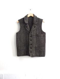 Gilet irlandais vintage ou gilet - par Cleo de Dublin - laine, sel & poivre Tweed - comme neuf - poches - hommes moyen ou gros - cadeaux pour lui on Etsy, Vendu