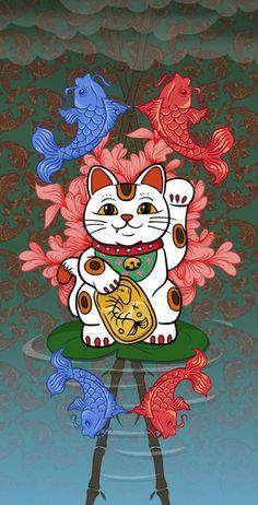 Japanese Lucky Cat Framed Art Print by beastbabies Japanese Pop Art, Japanese Cat, Maneki Neko, Neko Cat, Kitty Cats, Cat Art Print, Framed Art Prints, Lucky Cat Tattoo, Cute Kittens