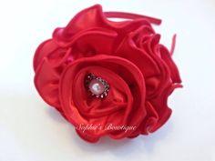 XL 4-4.5 satin flower headband with by SophiesBowtiqueSI on Etsy