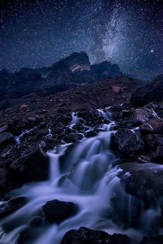 Broken Dreams - The Milky Way and Andromeda Galaxy rise above an outlet stream cascading from Broken Top's crater.