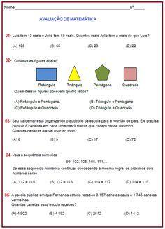 Avaliação de Matemática 4º ano | Sala de Aula – Profª Rérida