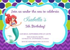 Under the sea birthday invitation little mermaid invitation the little mermaid invitation ariel disney by starpartyprintables filmwisefo Choice Image