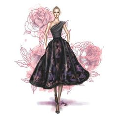 One should black fit and flare knee length dress - fashion illustration Beauty Illustration, Fashion Illustration Sketches, Fashion Sketches, Fashion Art, Girl Fashion, Dress Fashion, Dress Sketches, Fashion Design Drawings, Colorful Fashion