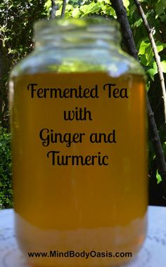 (Kombucha) Fermented Tea Fermented Tea with Ginger and Turmeric. Fermented Tea, Fermented Foods, Kefir Recipes, Raw Food Recipes, Juice Smoothie, Smoothies, Smoothie Recipes, Vegan, Probiotic Drinks