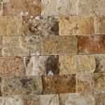 "Tuscany Scabos 1""x2"" Travertine Split Faced Mosaic Tile – Tilezz Kitchen Backsplash Peel And Stick, Rustic Backsplash, Black Backsplash, Travertine Backsplash, Green Granite Countertops, Light Granite, New Venetian Gold Granite, Light Wood Cabinets, Dark Kitchen Cabinets"
