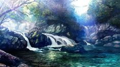 Anime picture with original ginnofude (takei) wide image wallpaper landscape no people nature rock waterfall plant (plants) tree (trees) water leaf (leaves) branch stone (stones) tagme Scenery Background, Landscape Background, Animation Background, Scenic Wallpaper, Anime Scenery Wallpaper, 1080p Wallpaper, Desktop Wallpapers, Fantasy Kunst, Fantasy Art