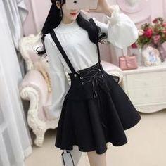 Korean Black Strap String Slim Waist Skirt SD01353... - #black #coreana #Korean #SD01353 #skirt #Slim #Strap #String #waist