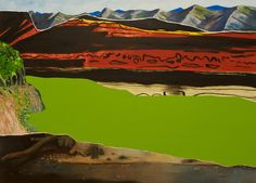 From Gagosian, Dexter Dalwood, Lennie Oil on Canvas, 59 × 81 in Landscape Art, Landscape Paintings, Landscapes, Dexter Dalwood, Turner Prize, Gagosian Gallery, Tate Britain, Paintings I Love, Painting & Drawing