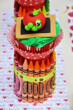 This would be great for a kids party and the crayons can be a part of a favor in a roll case with a coloring book.  This site has great ideas for parties.   Amanda's Parties To Go: DIY Crayon Cupcake Holder