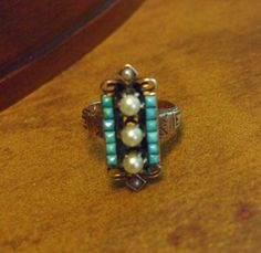 Antique Victorian 14K Rose Gold Ring w/ Persian Turquoise Gemstones & Seed Pearls    http://stores.ebay.com/The-Rolling-Wave