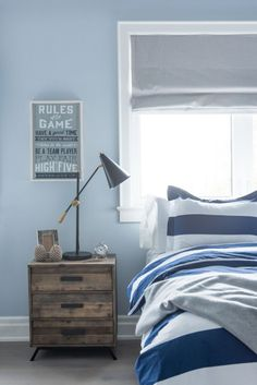 1000 ideas about window behind bed on pinterest off for Blue and white boys room