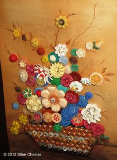 #Button #Art #Picture #Flower #Bouquet #Craft #DIY