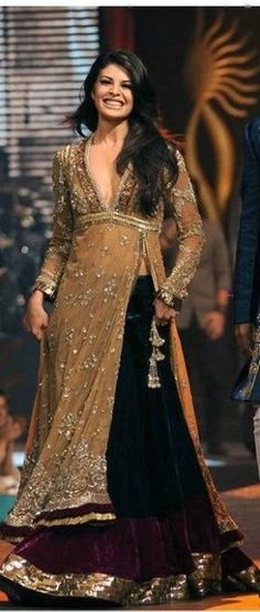 Trendy Traditional Gown With Lehenga by Manish Malhotra on Jacqueline Fernandez