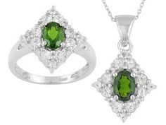 3.22ctw Oval Russian Chrome Diopside And White Topaz Sterling Silver Ring And Pendant With Chain Set