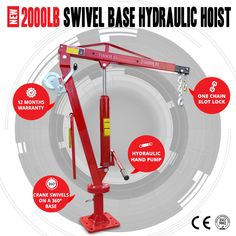 NEW 2000LB (900kg) Swivel Hydraulic Crane Hoist, Ute,Trucks & Cable Winch 360deg