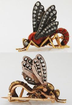 Brooch Wasp. France, 19th century. Gold, enamel and diamonds