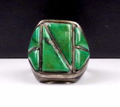 Old Navajo Mens Sterling Silver GREEN TURQUOISE Ring Hand Made Native American * #GreenTurquoise