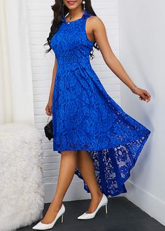 Casual Dresses Casual Wear For Women Sexy Party Dress Tea Length Wedding Dress Casual Dresses Silk S Tea Length Wedding Dress, Tea Length Dresses, Blue Dresses, Casual Wear Women, Casual Dresses For Women, Dress Casual, High Low Lace Dress, Robes Vintage, Vintage Lace