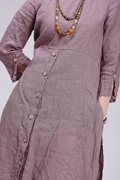 Boho style linen dress from flax. Complicated pirouettes forms creates a linen dress. It weaves the intrigue of a multi Salwar Designs, Kurta Designs Women, Boho Fashion, Fashion Dresses, Sleeves Designs For Dresses, Frock Design, Denim And Lace, Indian Designer Wear, Linen Dresses