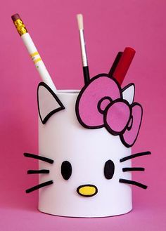 get some yourself some pawtastic adorable cat apparel! Tin Can Crafts, Cat Crafts, Easy Diy Crafts, Creative Crafts, Toilet Paper Roll Crafts, Cardboard Crafts, Diy For Kids, Crafts For Kids, Hello Kitty Crafts
