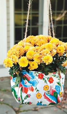 Jazz up your porch or patio with a cool hanging planter.