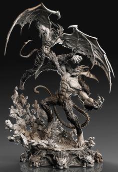 -Amon Vs Devilman- Diorama by David Molina | Creatures | 3D | CGSociety