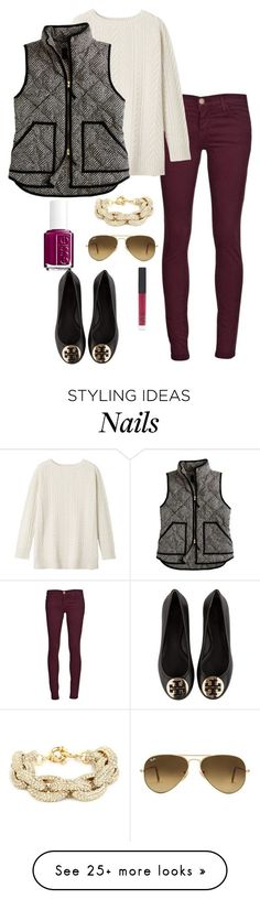 """Vest"" by thepinkcatapillar on Polyvore featuring Current/Elliott, Toast, J.Crew, Essie, Ray-Ban, NARS Cosmetics and Tory Burch"
