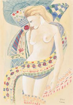 """VITTORIO CORONA (Palermo 1901 – Roma 1966) ACQUARELLO su carta """"nudo femminile"""" (studio per l'olio femmine del 1924), firmato in basso a destra (con autentica su foto rilasciata dalla Prof.ssa Anna Maria Ruta)"""