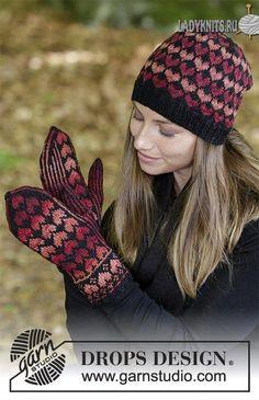 Жаккардовый комплект из вязаной спицами шапки и варежек. Описание