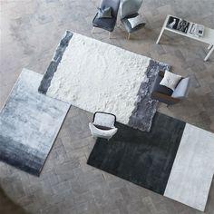 Designers Guild Rugs: Nilaruna Silver Birch Rug, Kasuti Dove, and Hasan Black and White