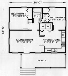 Cabin with large kitchen and full size laundry hook ups for 24x24 two story house plans