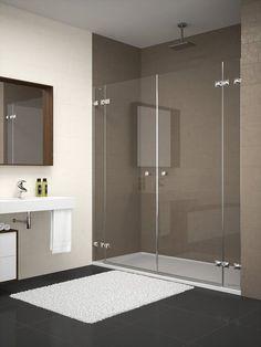 Mampara de ducha con vidrio fijo y hoja abatible de vidrio for Mamparas bd
